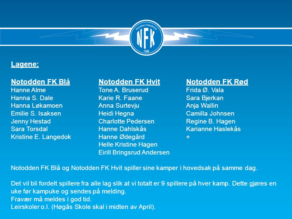 Lagene: Notodden FK BlåNotodden FK HvitNotodden FK Rød Hanne AlmeTone A.