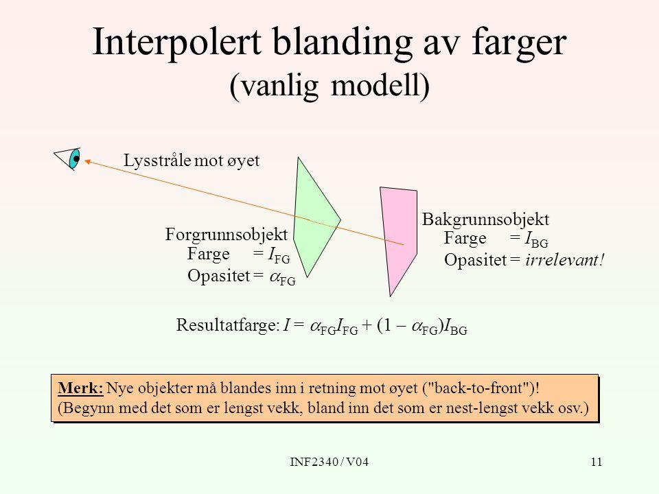INF2340 / V0412 Generelt I0I0 0 = Global bakgrunn  0 = 1 I1I1 1 11 I2I2 2 22 I3I3 3 33 I i =  i I i + (1 -  i )I i-1, i  1 ´´ I 0 = I 0 ´ I i = ´ Fargen som er resultatet av å blande objekt i med det som ligger bakenfor, altså I i-1.