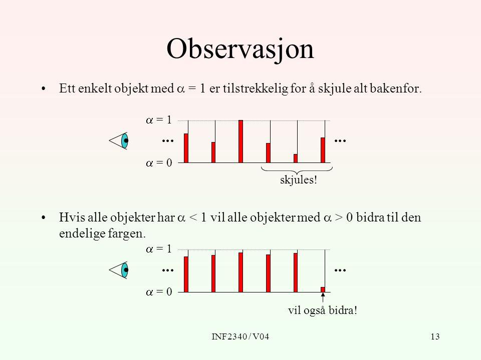 INF2340 / V0413 Observasjon Ett enkelt objekt med  = 1 er tilstrekkelig for å skjule alt bakenfor.