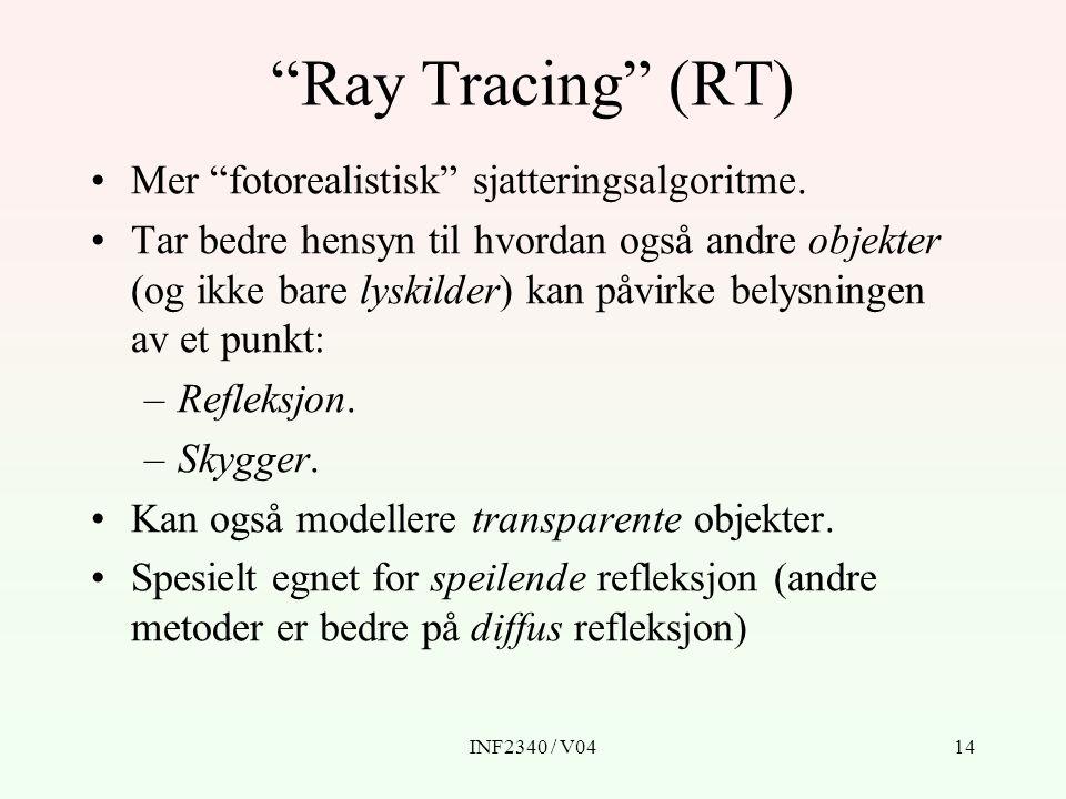 INF2340 / V0414 Ray Tracing (RT) Mer fotorealistisk sjatteringsalgoritme.