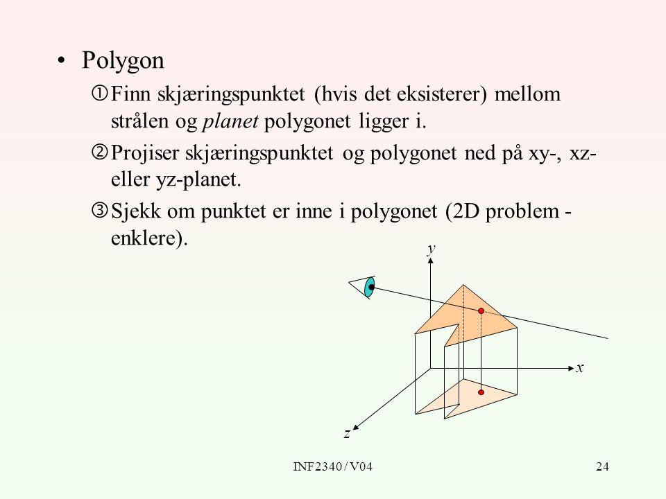 INF2340 / V0424 Polygon  Finn skjæringspunktet (hvis det eksisterer) mellom strålen og planet polygonet ligger i.