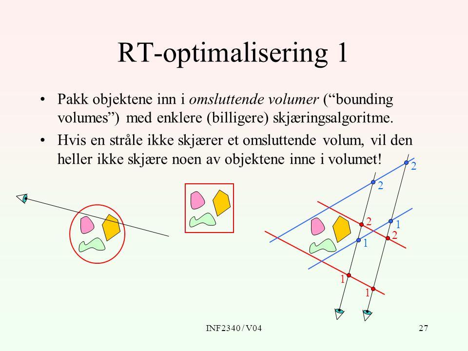 INF2340 / V0427 RT-optimalisering 1 Pakk objektene inn i omsluttende volumer ( bounding volumes ) med enklere (billigere) skjæringsalgoritme.