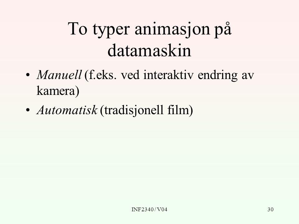 INF2340 / V0430 To typer animasjon på datamaskin Manuell (f.eks.