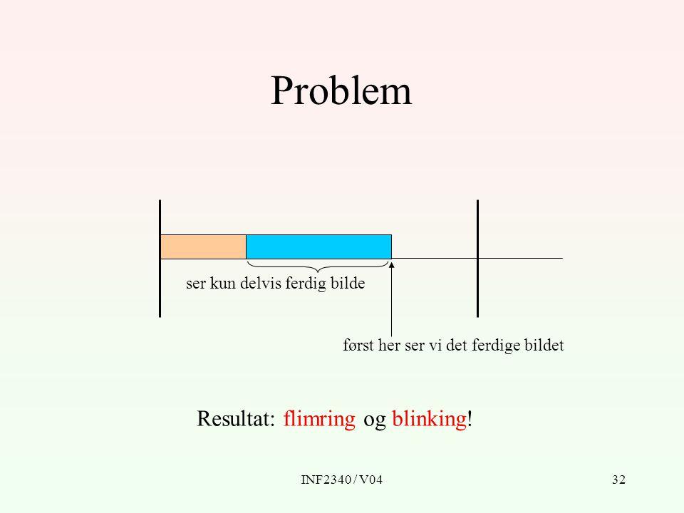 INF2340 / V0432 Problem ser kun delvis ferdig bilde først her ser vi det ferdige bildet Resultat: flimring og blinking!