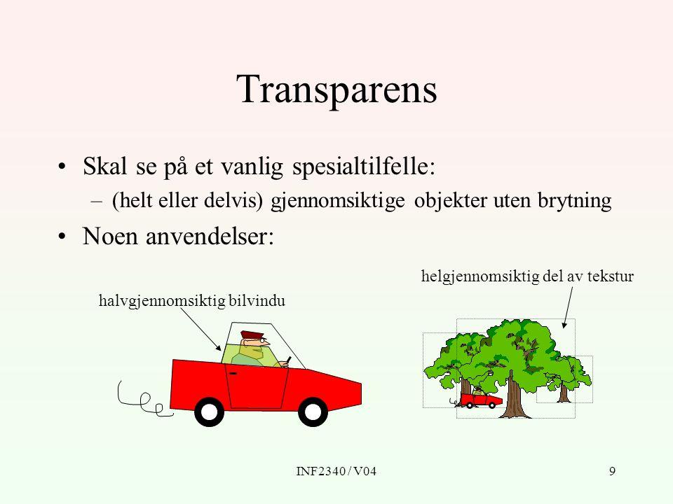 INF2340 / V0410 Alfa Transparens representeres vanligvis som en alfa- verdi (A,  ) som betyr opasitet (ugjennomsiktighet).
