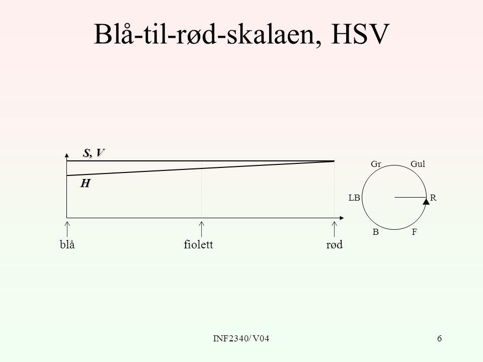 INF2340/ V046 Blå-til-rød-skalaen, HSV blårødfiolett LBR GulGr BF H S, V