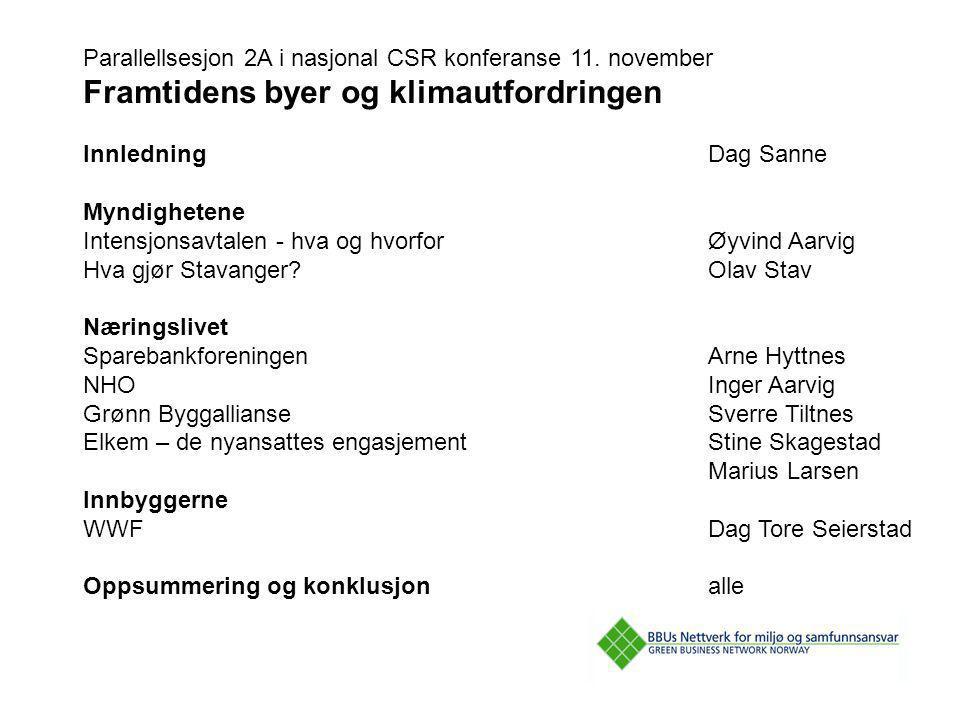 Parallellsesjon 2A i nasjonal CSR konferanse 11. november Framtidens byer og klimautfordringen InnledningDag Sanne Myndighetene Intensjonsavtalen - hv