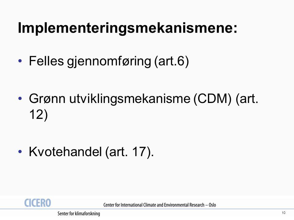 10 Implementeringsmekanismene: Felles gjennomføring (art.6) Grønn utviklingsmekanisme (CDM) (art.