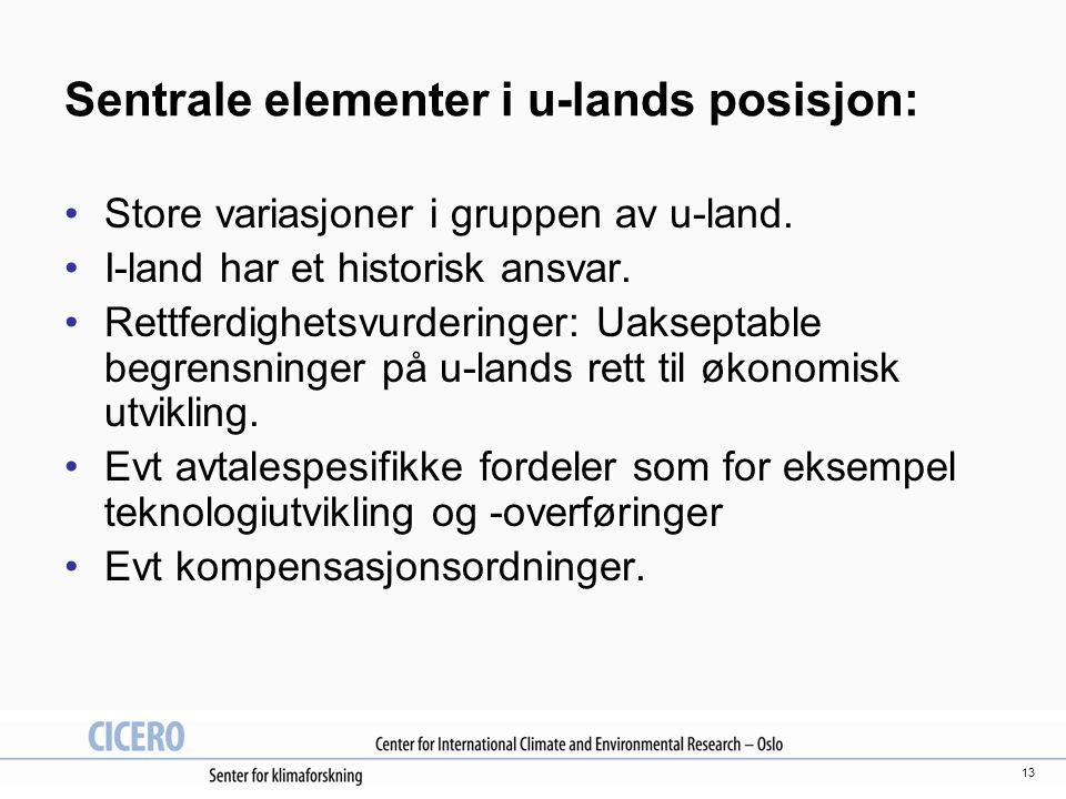 13 Sentrale elementer i u-lands posisjon: Store variasjoner i gruppen av u-land.