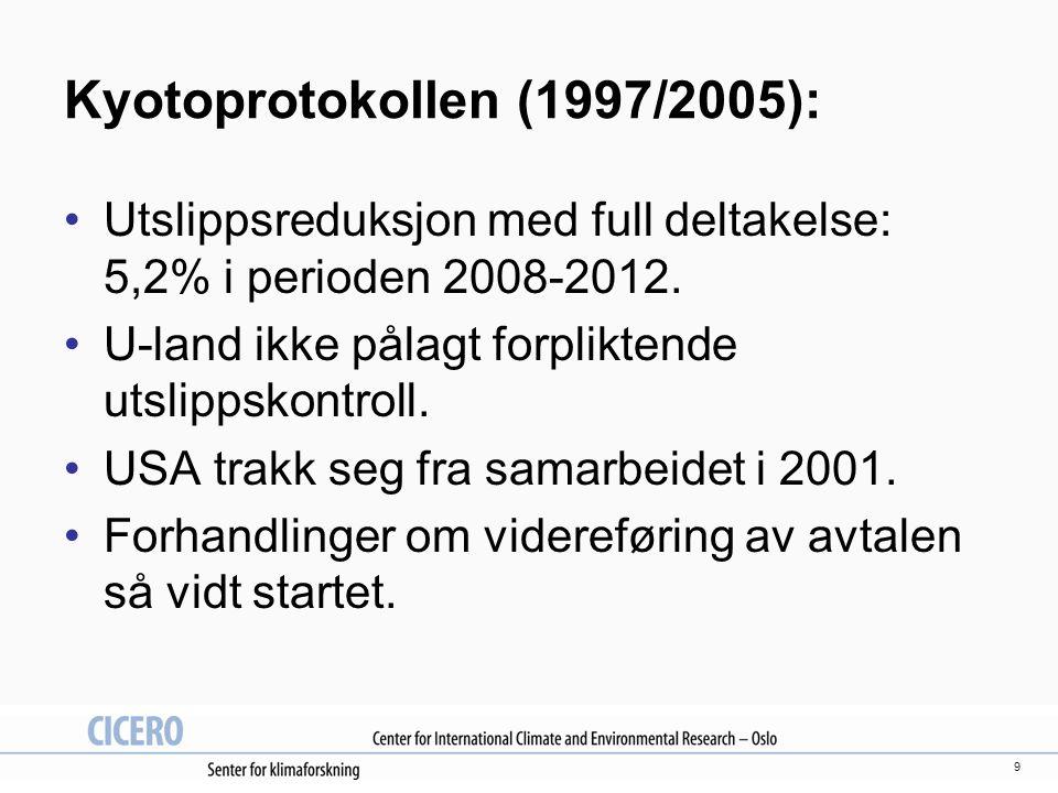 9 Kyotoprotokollen (1997/2005): Utslippsreduksjon med full deltakelse: 5,2% i perioden 2008-2012.