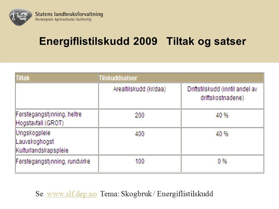 Energiflistilskudd Tilskuddsberettigede Skogeiere og jordbrukere Samarbeidsprosjekter Drifter gjennomført etter 1.