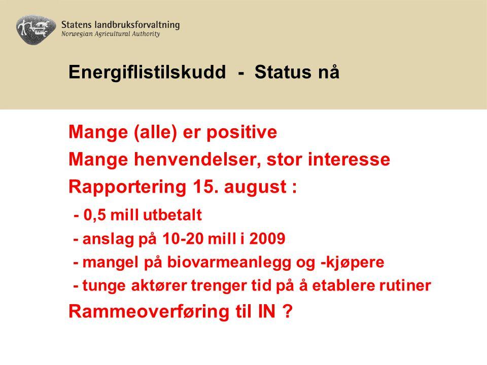 Energiflistilskudd - Status nå Mange (alle) er positive Mange henvendelser, stor interesse Rapportering 15. august : - 0,5 mill utbetalt - anslag på 1