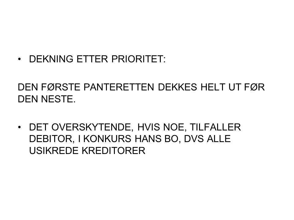 DEKNING ETTER PRIORITET: DEN FØRSTE PANTERETTEN DEKKES HELT UT FØR DEN NESTE.