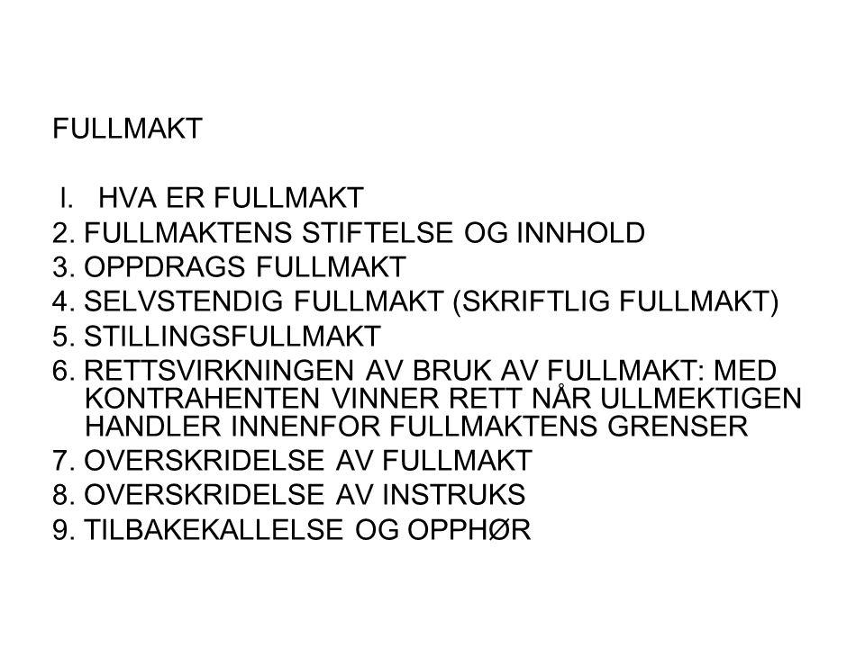 FULLMAKT l. HVA ER FULLMAKT 2. FULLMAKTENS STIFTELSE OG INNHOLD 3. OPPDRAGS FULLMAKT 4. SELVSTENDIG FULLMAKT (SKRIFTLIG FULLMAKT) 5. STILLINGSFULLMAKT