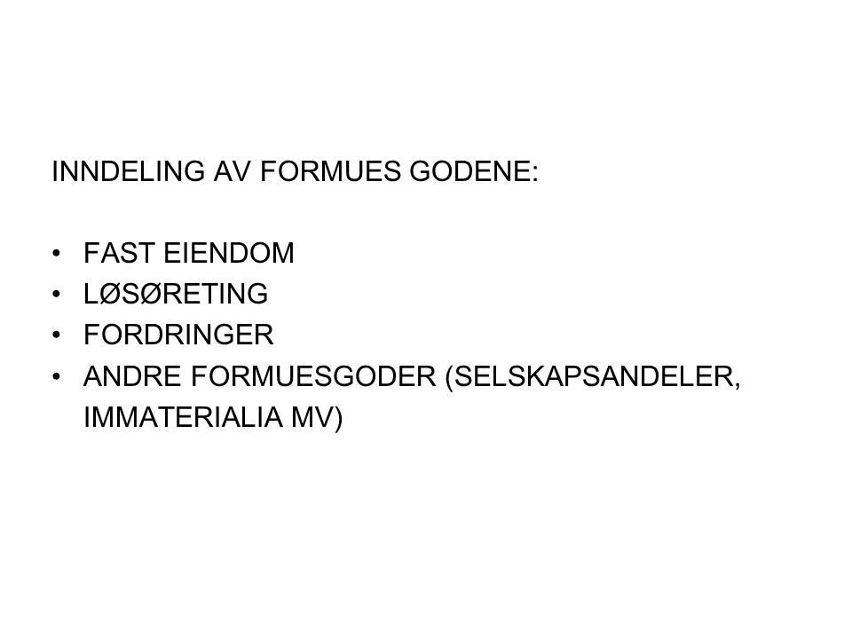 INNDELING AV FORMUES GODENE: FAST EIENDOM LØSØRETING FORDRINGER ANDRE FORMUESGODER (SELSKAPSANDELER, IMMATERIALIA MV)