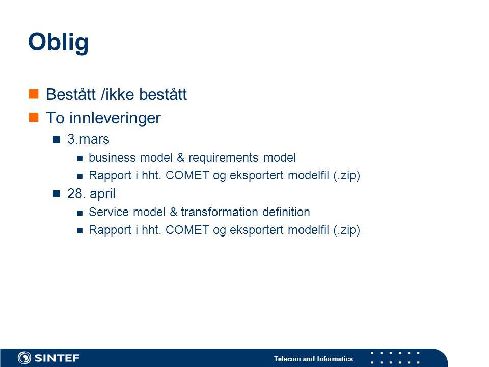 Telecom and Informatics Oblig Bestått /ikke bestått To innleveringer 3.mars business model & requirements model Rapport i hht.