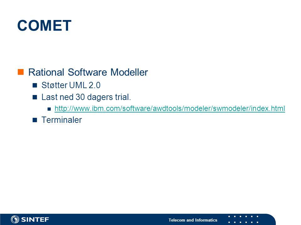 Telecom and Informatics COMET Rational Software Modeller Støtter UML 2.0 Last ned 30 dagers trial. http://www.ibm.com/software/awdtools/modeler/swmode