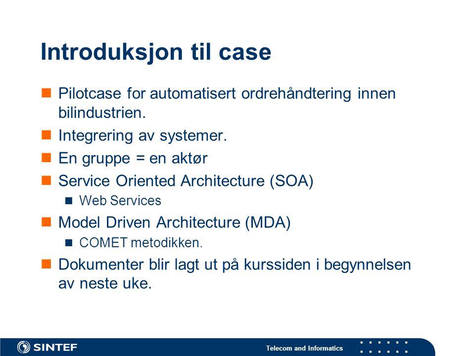 Telecom and Informatics Pilotcase for automatisert ordrehåndtering innen bilindustrien. Integrering av systemer. En gruppe = en aktør Service Oriented
