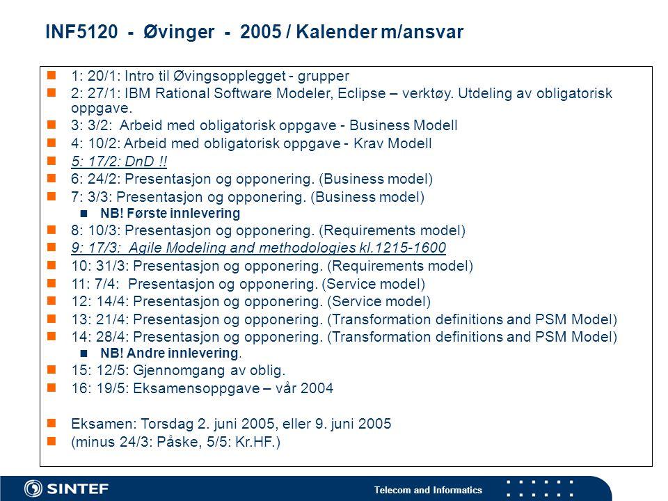 Telecom and Informatics INF5120 - Øvinger - 2005 / Kalender m/ansvar 1: 20/1: Intro til Øvingsopplegget - grupper 2: 27/1: IBM Rational Software Model