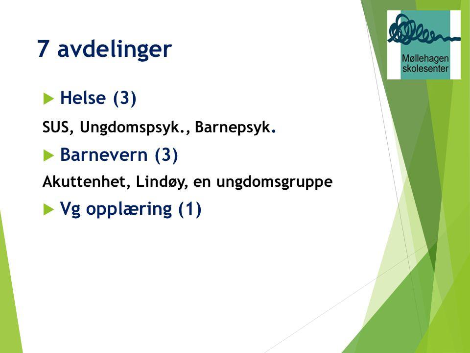 7 avdelinger  Helse (3) SUS, Ungdomspsyk., Barnepsyk.  Barnevern (3) Akuttenhet, Lindøy, en ungdomsgruppe  Vg opplæring (1)