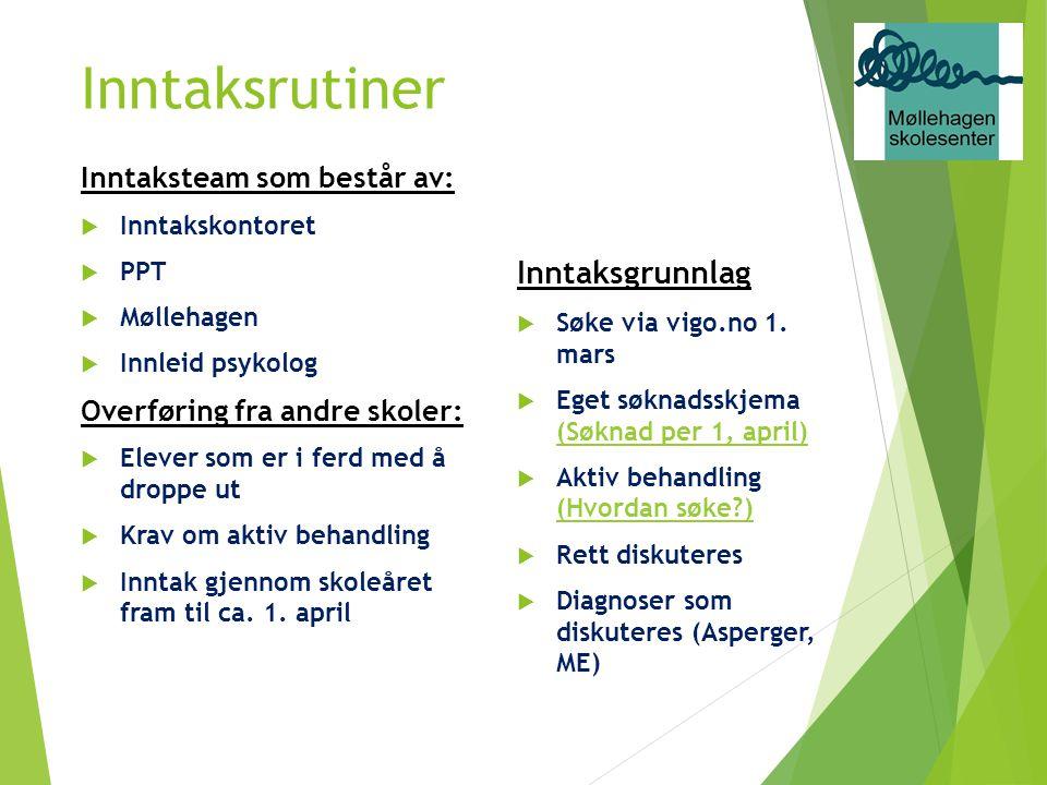 Inntaksrutiner Inntaksteam som består av:  Inntakskontoret  PPT  Møllehagen  Innleid psykolog Overføring fra andre skoler:  Elever som er i ferd