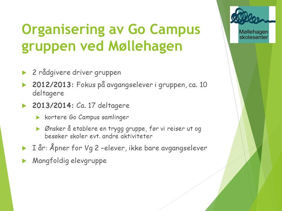 Organisering av Go Campus gruppen ved Møllehagen  2 rådgivere driver gruppen  2012/2013: Fokus på avgangselever i gruppen, ca. 10 deltagere  2013/2