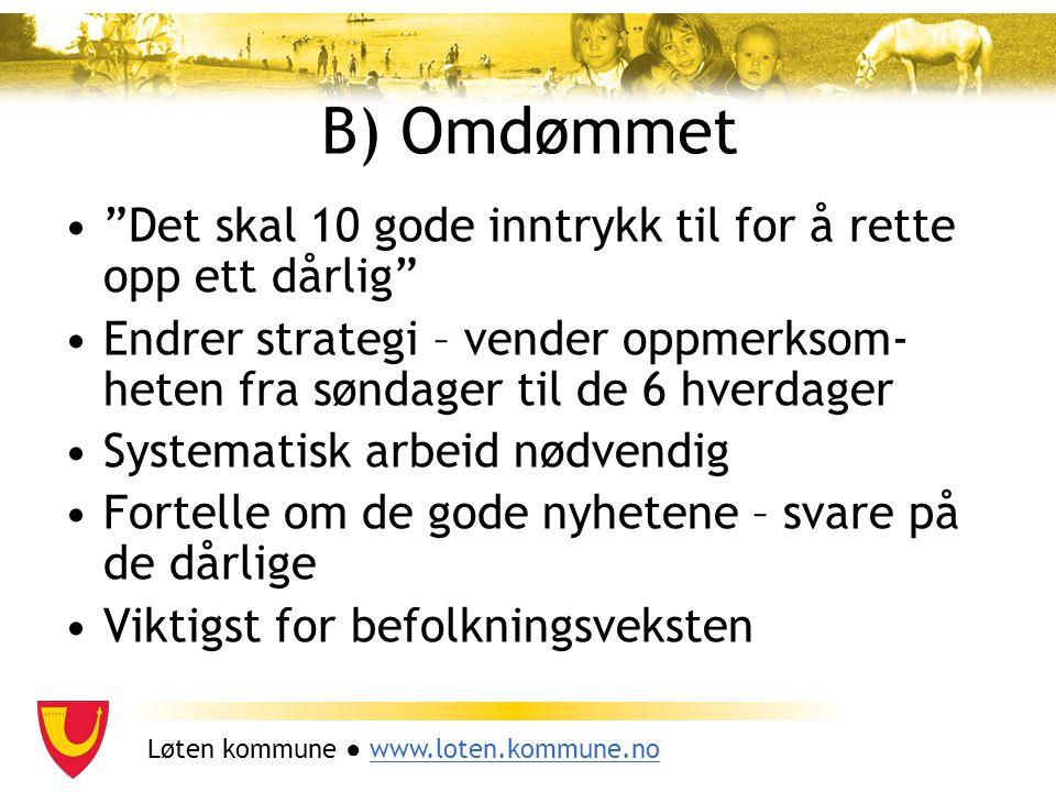 """Løten kommune ● www.loten.kommune.nowww.loten.kommune.no B) Omdømmet """"Det skal 10 gode inntrykk til for å rette opp ett dårlig"""" Endrer strategi – vend"""