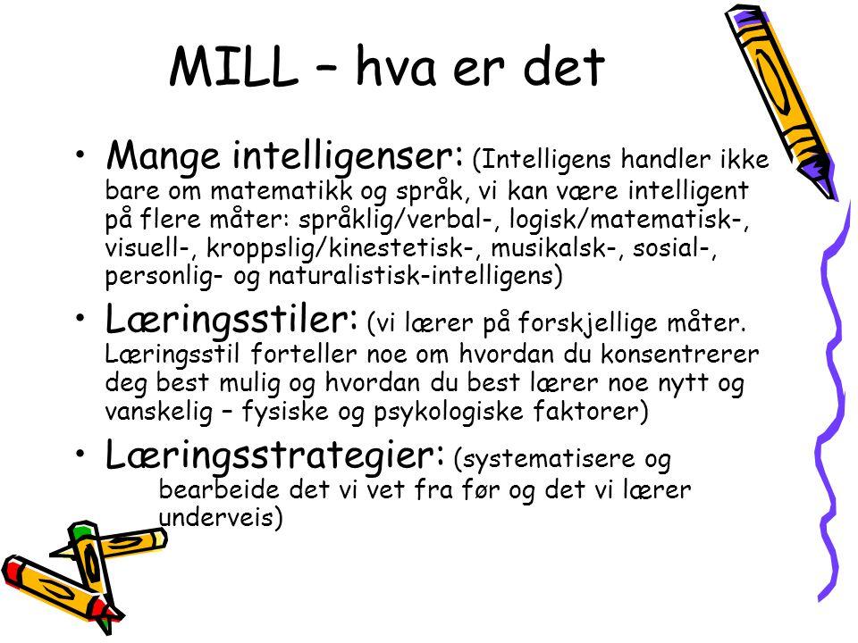 MILL – hva er det Mange intelligenser: (Intelligens handler ikke bare om matematikk og språk, vi kan være intelligent på flere måter: språklig/verbal-, logisk/matematisk-, visuell-, kroppslig/kinestetisk-, musikalsk-, sosial-, personlig- og naturalistisk-intelligens) Læringsstiler: (vi lærer på forskjellige måter.