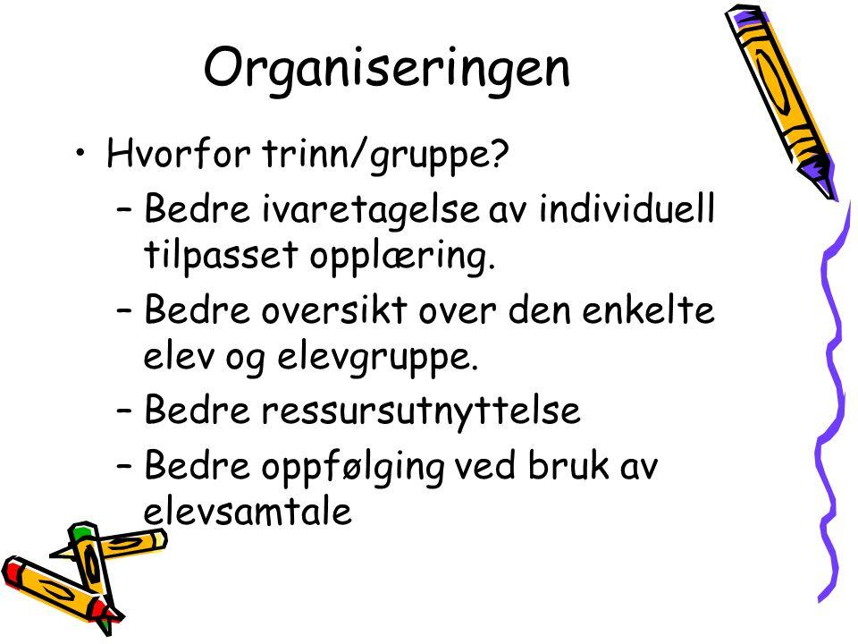 Organiseringen Hvorfor trinn/gruppe. –Bedre ivaretagelse av individuell tilpasset opplæring.