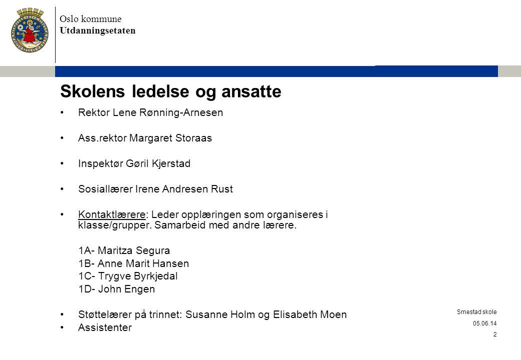 Oslo kommune Utdanningsetaten Smestad skole Skolen er 76 år.