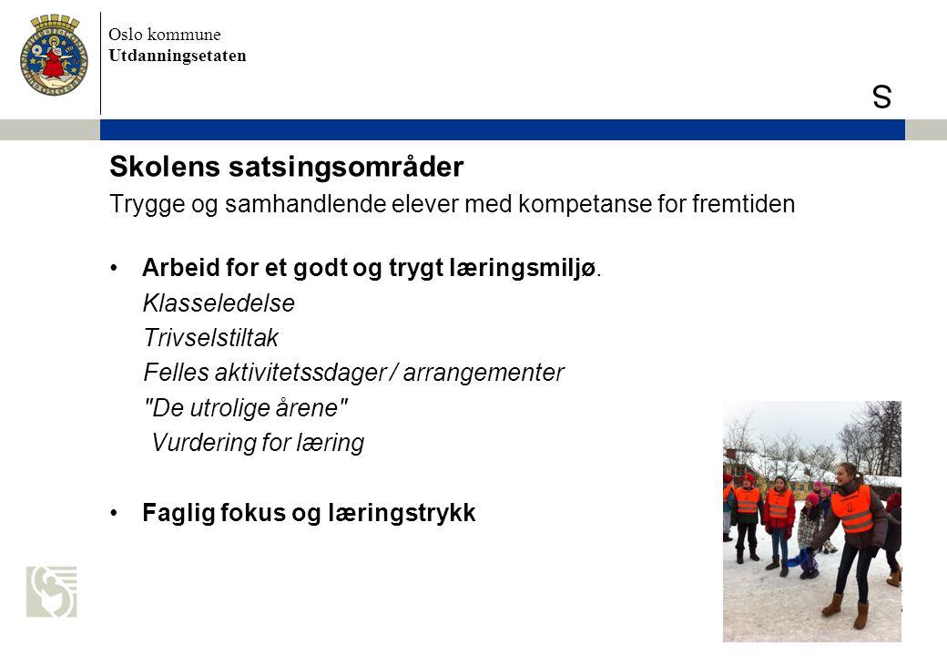 Oslo kommune Utdanningsetaten S Skolens satsingsområder Trygge og samhandlende elever med kompetanse for fremtiden Arbeid for et godt og trygt lærings