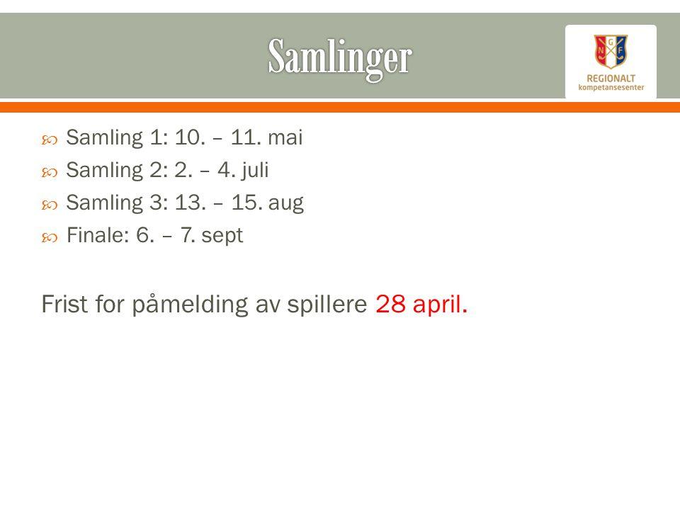  Samling 1: 10. – 11. mai  Samling 2: 2. – 4.