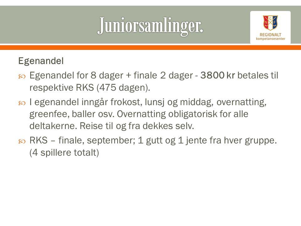 Egenandel  Egenandel for 8 dager + finale 2 dager - 3800 kr betales til respektive RKS (475 dagen).