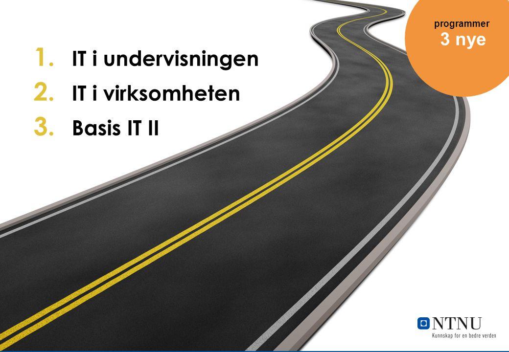 1. IT i undervisningen 2. IT i virksomheten 3. Basis IT II 3 nye programmer