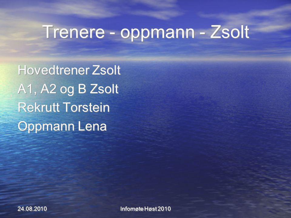 Trenere - oppmann - Zsolt Hovedtrener Zsolt A1, A2 og B Zsolt Rekrutt Torstein Oppmann Lena Hovedtrener Zsolt A1, A2 og B Zsolt Rekrutt Torstein Oppmann Lena 24.08.2010Infomøte Høst 2010