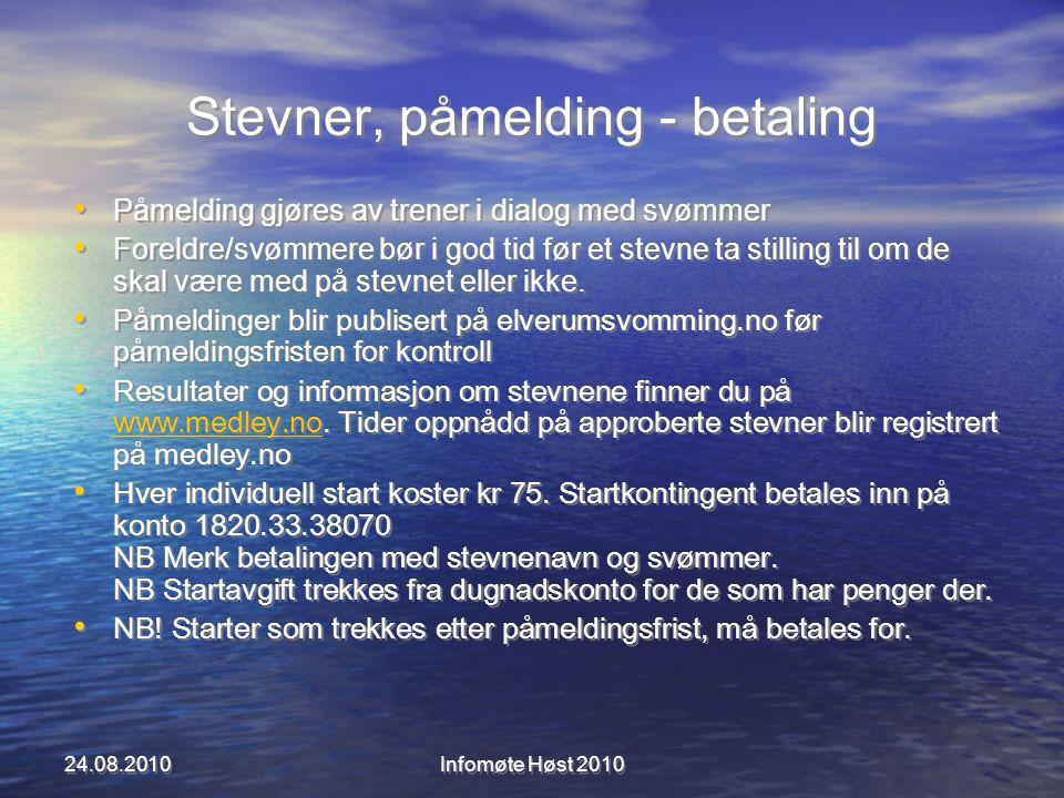 Stevner, påmelding - betaling Påmelding gjøres av trener i dialog med svømmer Foreldre/svømmere bør i god tid før et stevne ta stilling til om de skal være med på stevnet eller ikke.