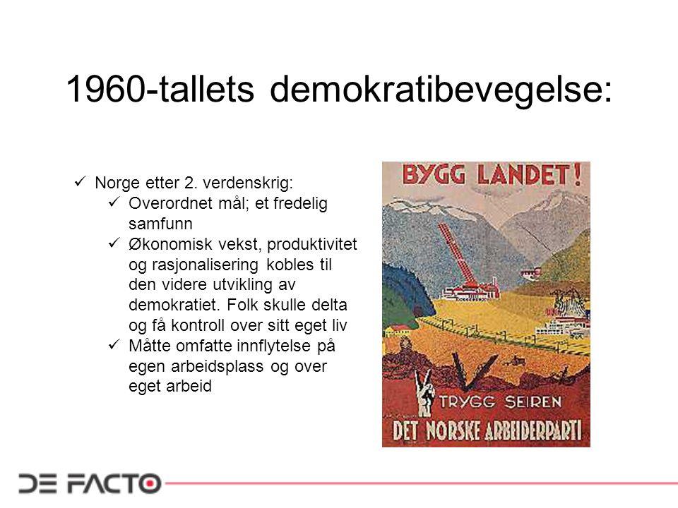 1960-tallets demokratibevegelse: Norge etter 2. verdenskrig: Overordnet mål; et fredelig samfunn Økonomisk vekst, produktivitet og rasjonalisering kob
