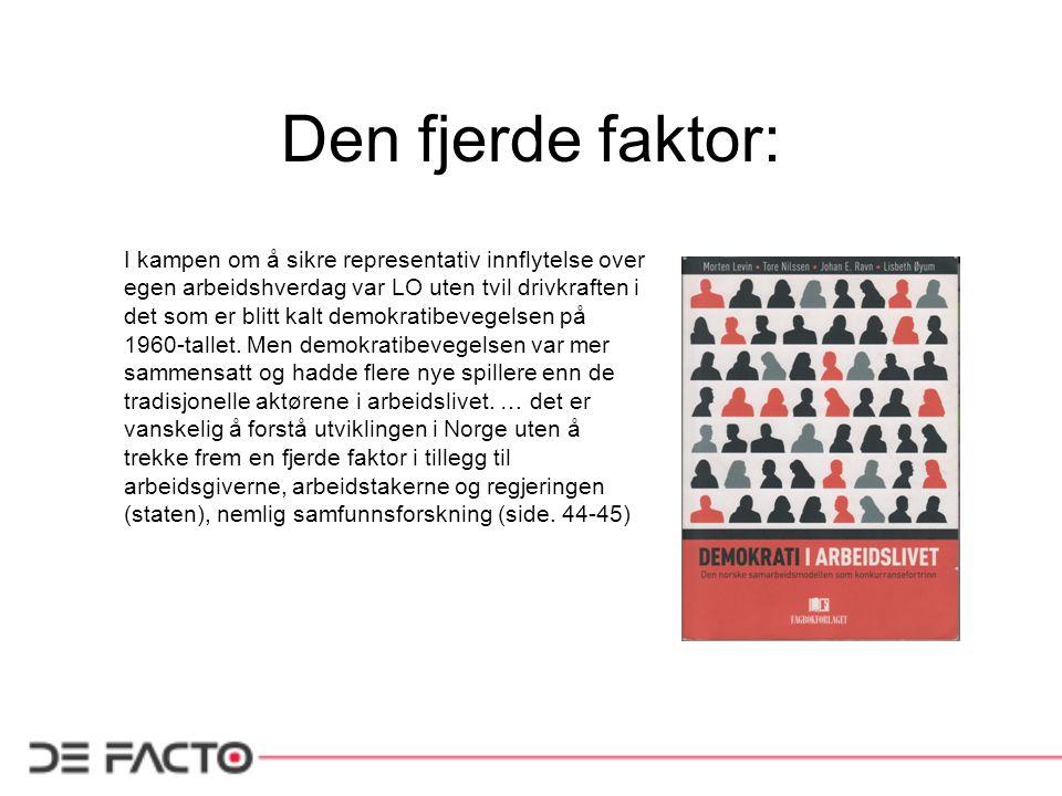 Den fjerde faktor: I kampen om å sikre representativ innflytelse over egen arbeidshverdag var LO uten tvil drivkraften i det som er blitt kalt demokra