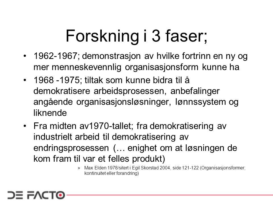 Forskning i 3 faser; 1962-1967; demonstrasjon av hvilke fortrinn en ny og mer menneskevennlig organisasjonsform kunne ha 1968 -1975; tiltak som kunne