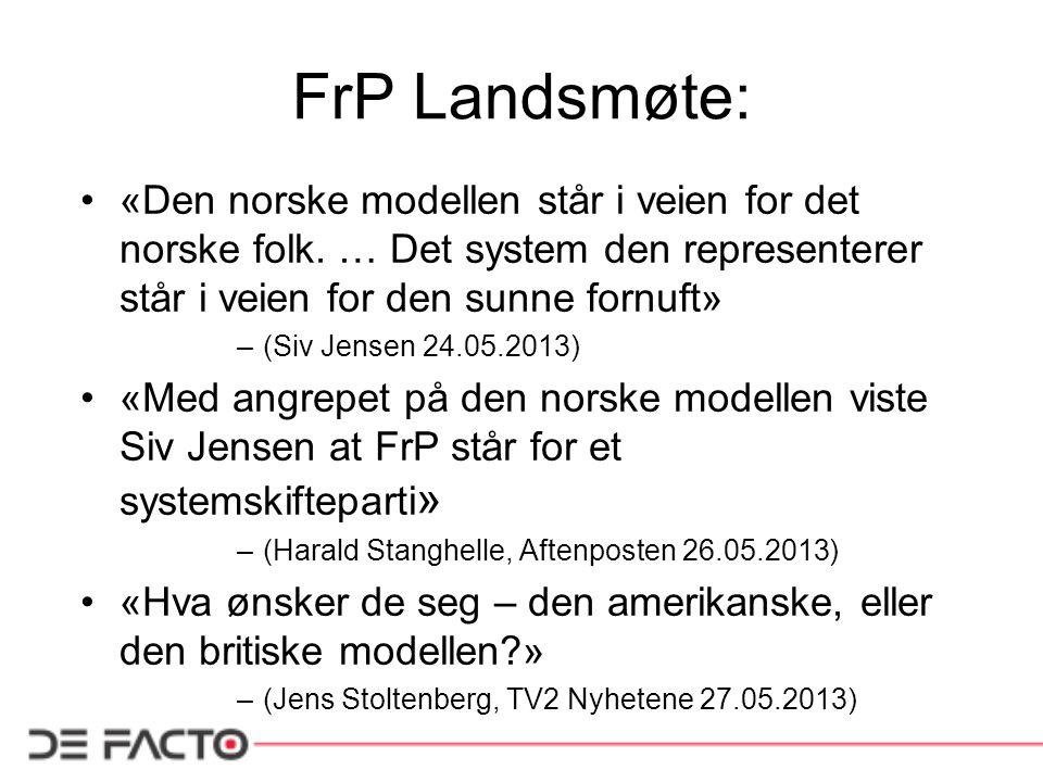 FrP Landsmøte: «Den norske modellen står i veien for det norske folk. … Det system den representerer står i veien for den sunne fornuft» –(Siv Jensen