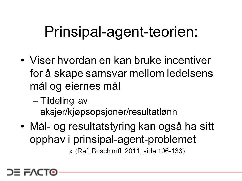 Prinsipal-agent-teorien: Viser hvordan en kan bruke incentiver for å skape samsvar mellom ledelsens mål og eiernes mål –Tildeling av aksjer/kjøpsopsjo