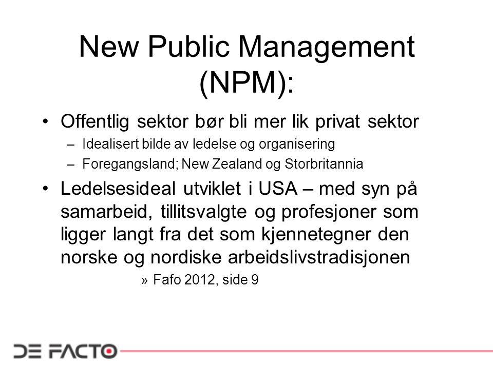New Public Management (NPM): Offentlig sektor bør bli mer lik privat sektor –Idealisert bilde av ledelse og organisering –Foregangsland; New Zealand o
