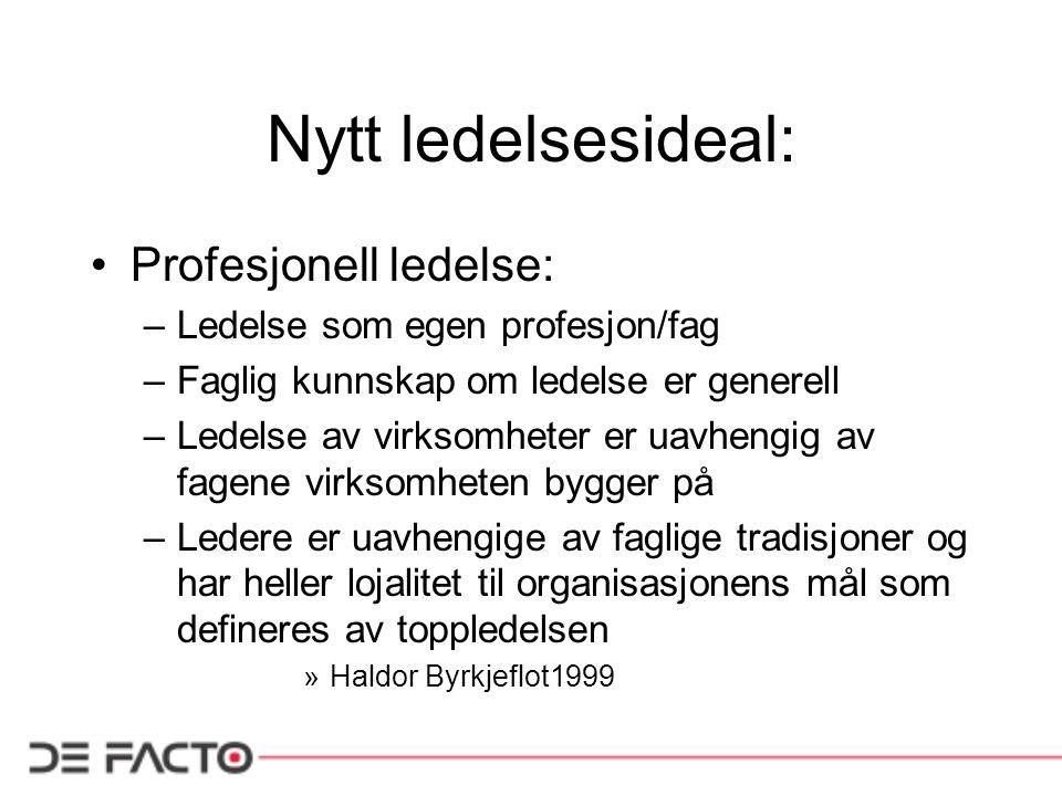 Nytt ledelsesideal: Profesjonell ledelse: –Ledelse som egen profesjon/fag –Faglig kunnskap om ledelse er generell –Ledelse av virksomheter er uavhengi