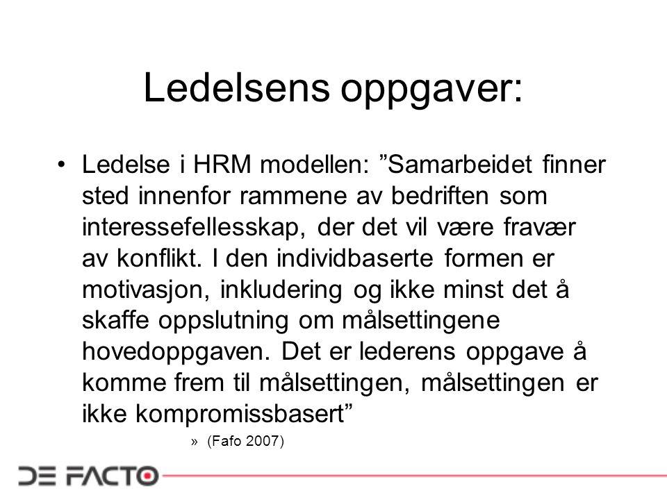 """Ledelsens oppgaver: Ledelse i HRM modellen: """"Samarbeidet finner sted innenfor rammene av bedriften som interessefellesskap, der det vil være fravær av"""
