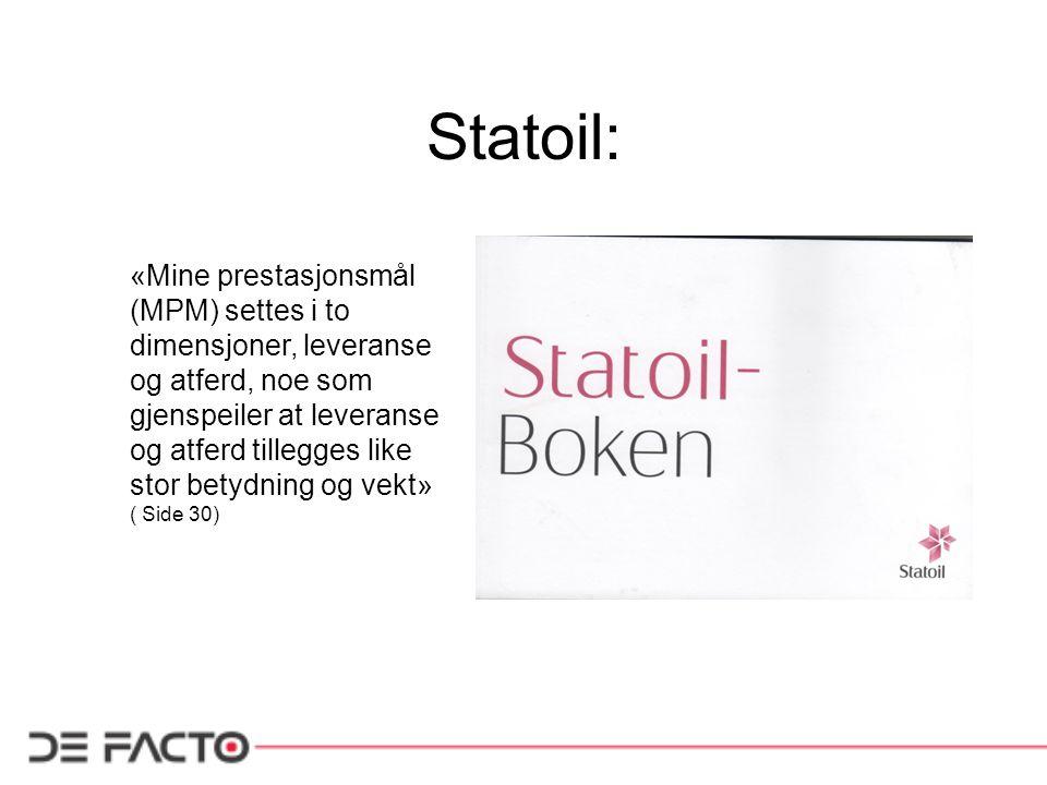 Statoil: «Mine prestasjonsmål (MPM) settes i to dimensjoner, leveranse og atferd, noe som gjenspeiler at leveranse og atferd tillegges like stor betyd