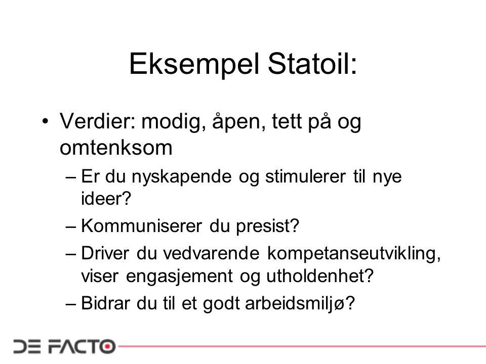Eksempel Statoil: Verdier: modig, åpen, tett på og omtenksom –Er du nyskapende og stimulerer til nye ideer? –Kommuniserer du presist? –Driver du vedva