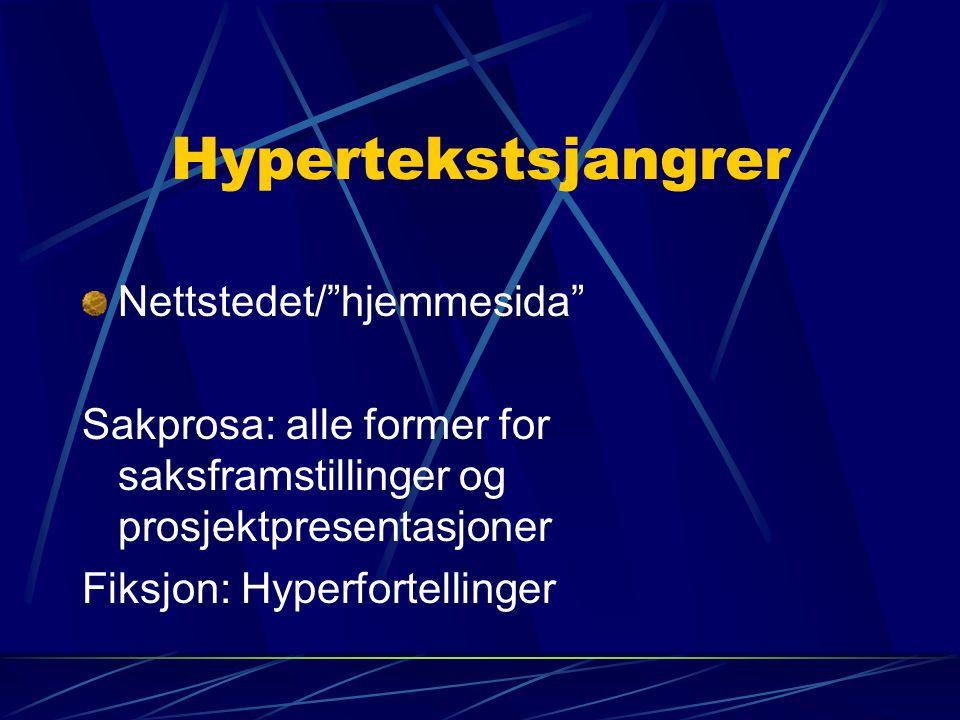 """Hypertekstsjangrer Nettstedet/""""hjemmesida"""" Sakprosa: alle former for saksframstillinger og prosjektpresentasjoner Fiksjon: Hyperfortellinger"""