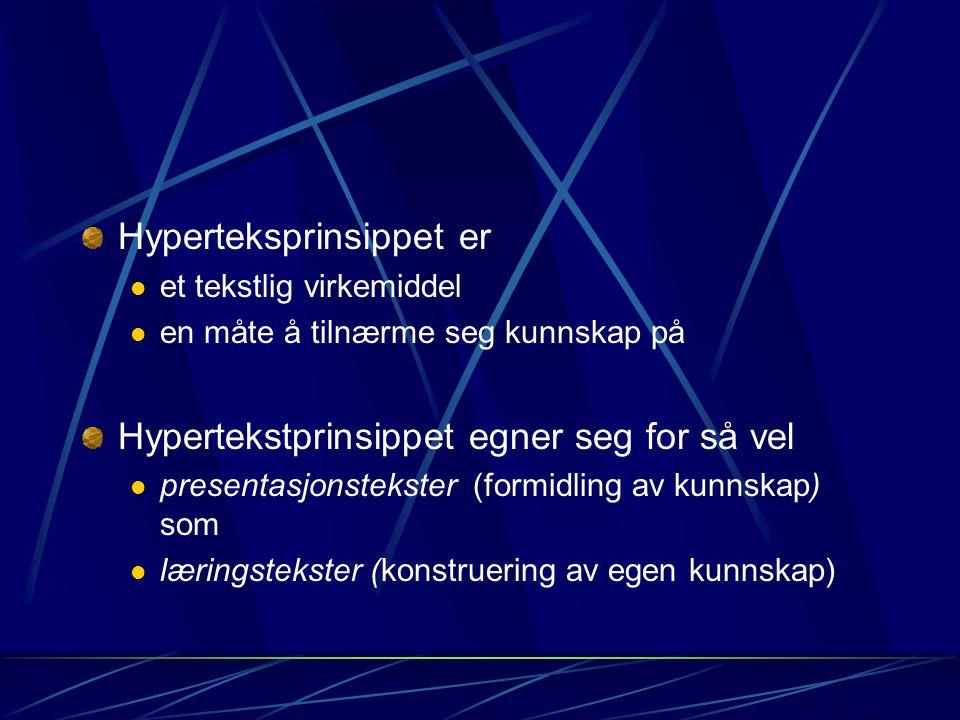 Hyperteksprinsippet er et tekstlig virkemiddel en måte å tilnærme seg kunnskap på Hypertekstprinsippet egner seg for så vel presentasjonstekster (form