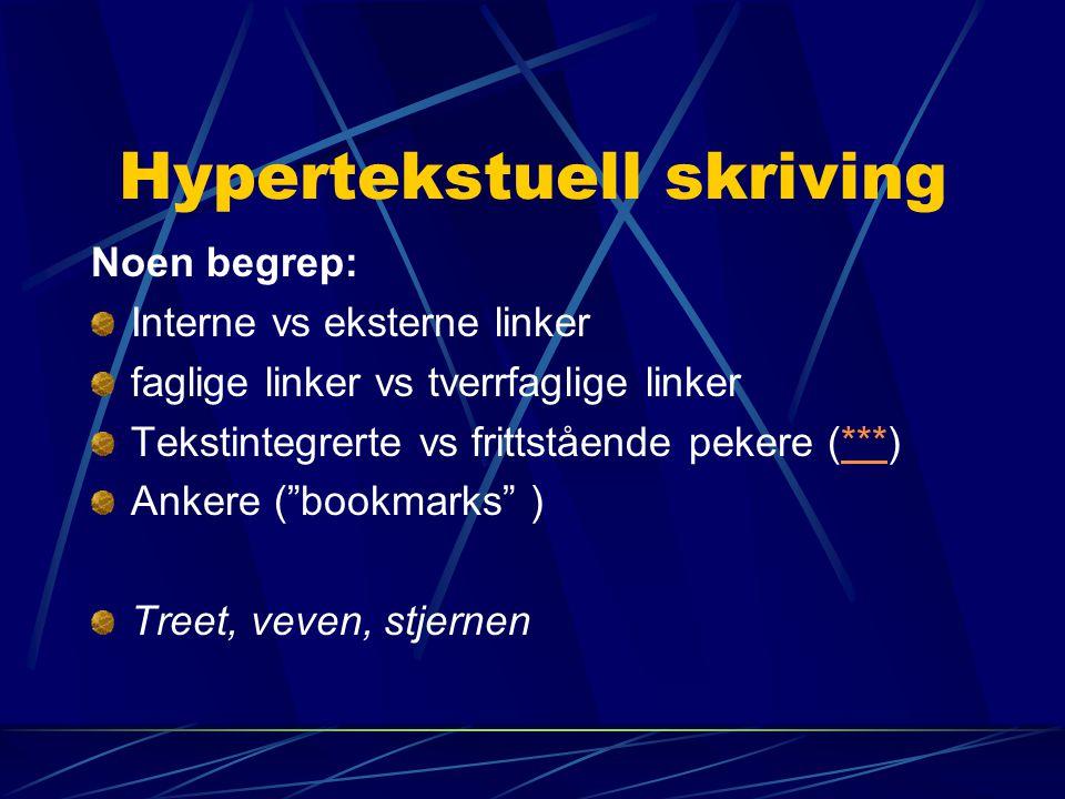 Hypertekstuell skriving Noen begrep: Interne vs eksterne linker faglige linker vs tverrfaglige linker Tekstintegrerte vs frittstående pekere (***)***