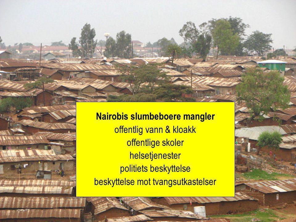 Nairobis slumbeboere mangler offentlig vann & kloakk offentlige skoler helsetjenester politiets beskyttelse beskyttelse mot tvangsutkastelser